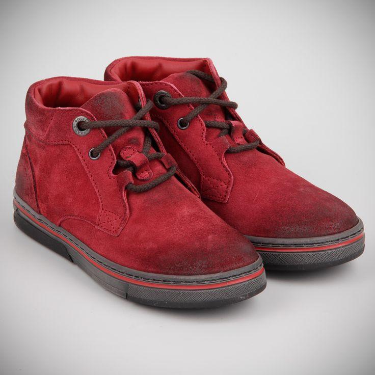 Ботинки Dolce&Gabbana бордовые, замша, шнуровка