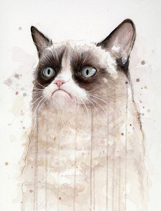 Grumpy Cat watercolour by Olga Shvartsur