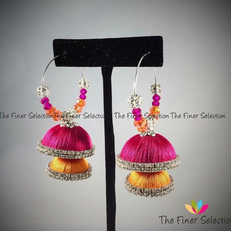 Handmade silk thread jhumka earrings