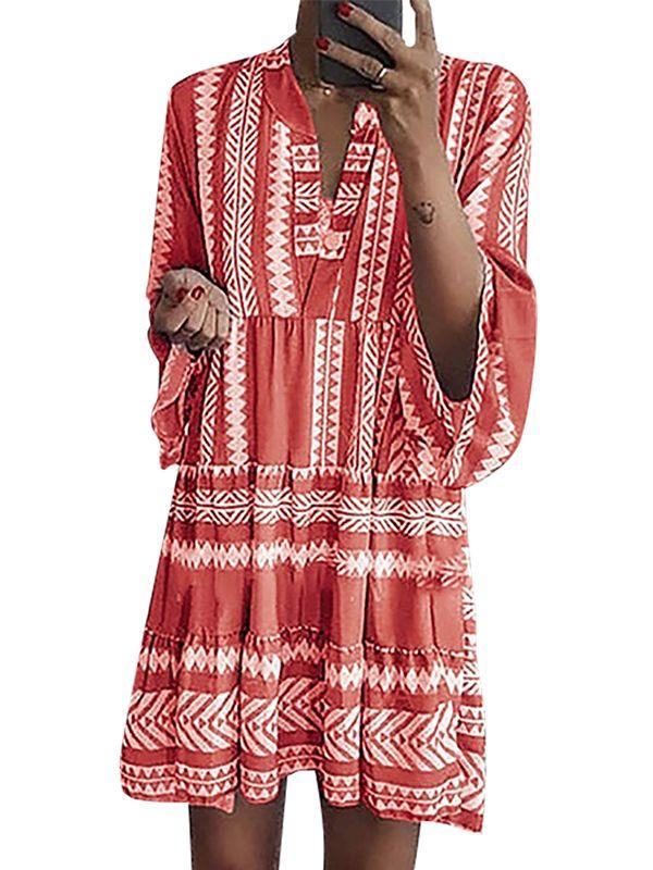 Plus Size Women Long Sleeve Casual Mini Dress Ladies Holiday Loose Ruffle Dress