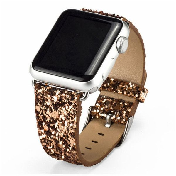 Shiny Glitter Power PU Leather Bling Luxury Band For Apple Watch (31 BAM) ❤ liked on Polyvore featuring jewelry, watches, jewelry & watches, yellow, unisex jewelry, unisex watches, yellow jewelry, glitter jewelry and apple watches