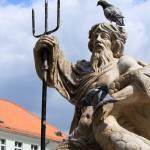 Fontanna Neptuna w Gliwicach - stoi na Rynku obok Ratusza. Fontanna zwykle pokryta jest gołębiami.