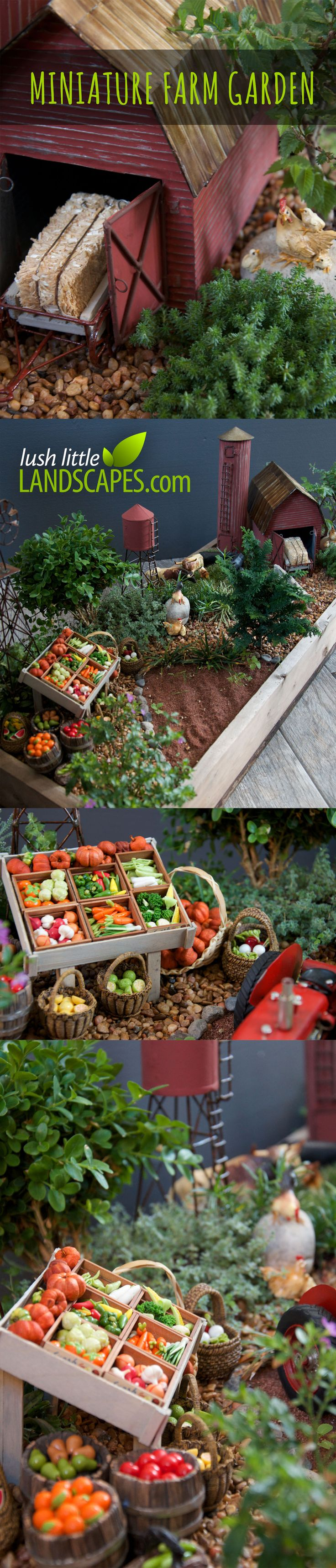Miniature Farm Garden Preview - Farmstand with tiny fruits and vegetables in barrels and baskets, barn, windmill, silo, water tower, chickens, cattle - more to come! | Lush Little Landscapes