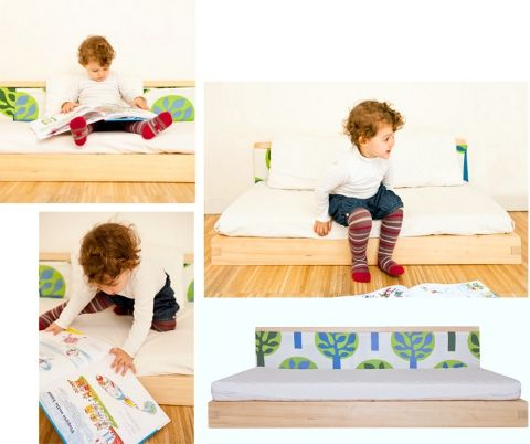 They can use the same floor bed from birth to around 2.5, after which you could get a raised bed if you like.