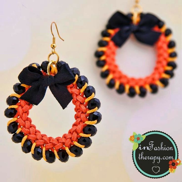 Orange suede and black beads