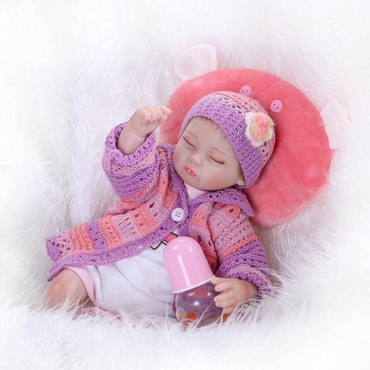 (56.00$)  Buy here  - New 42cm silicone reborn dolls eye closed lifelike newborn toys soft touch baby toys bonecas reborn gift for children