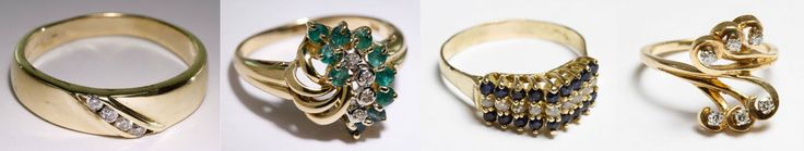 """Lot 211: 14k Gold Ring Assortment; Four rings including one with four round cut channel set diamonds set on a diagonal, emerald and diamond having ten round cut emeralds adorned by four round cut diamond chips; sapphire and diamond having nine round cut diamonds flanked by eighteen round cut sapphires; and a diamond examples having six round cut diamonds set in six swirls; all marked """"14k"""" inside band"""