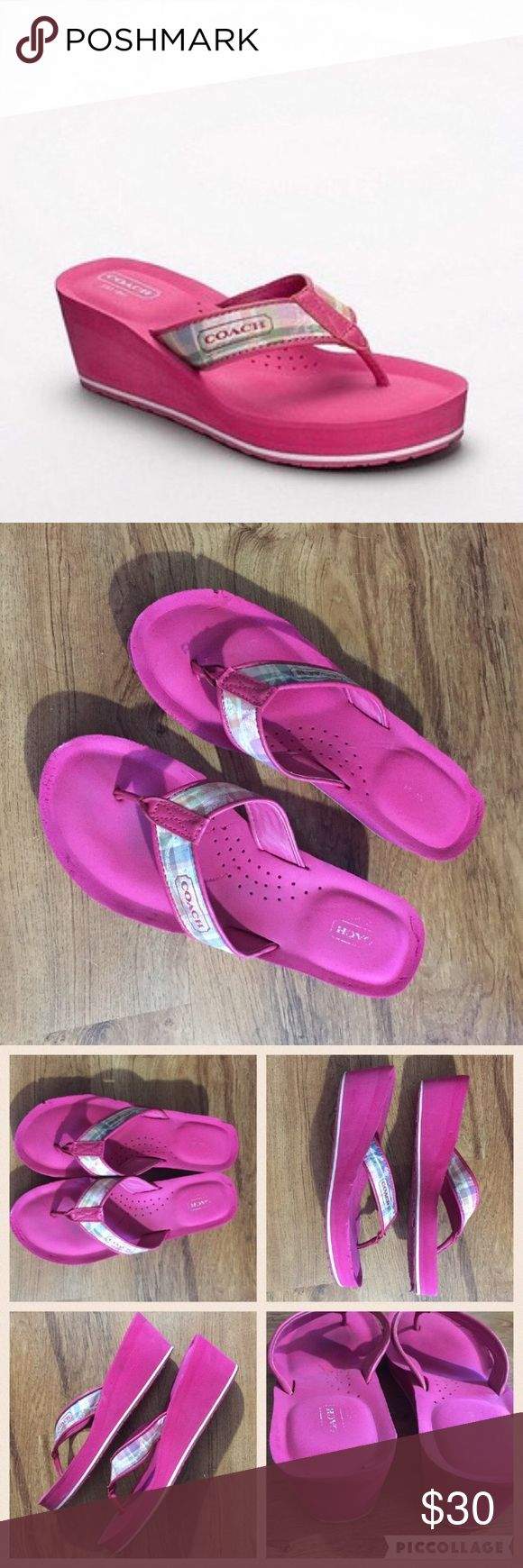 """Coach """"Jaicee"""" Hot Pink Wedge Thong Sandals Coach """"Jaicee"""" pink wedge sandals. They do have some flaws. There are knicks in the rubber, mostly around the toes, and a few small spots on the heels. Perfect for the pool or beach in the summertime. Size 9B.  #coach #jaicee #wedge #sandal #pink #logo #highend #colorful #bright #designer #shoes #beach #pool #vacay #vacation #springbreak #punkydoodle  No modeling Smoke free home I do discount bundles Coach Shoes Sandals"""