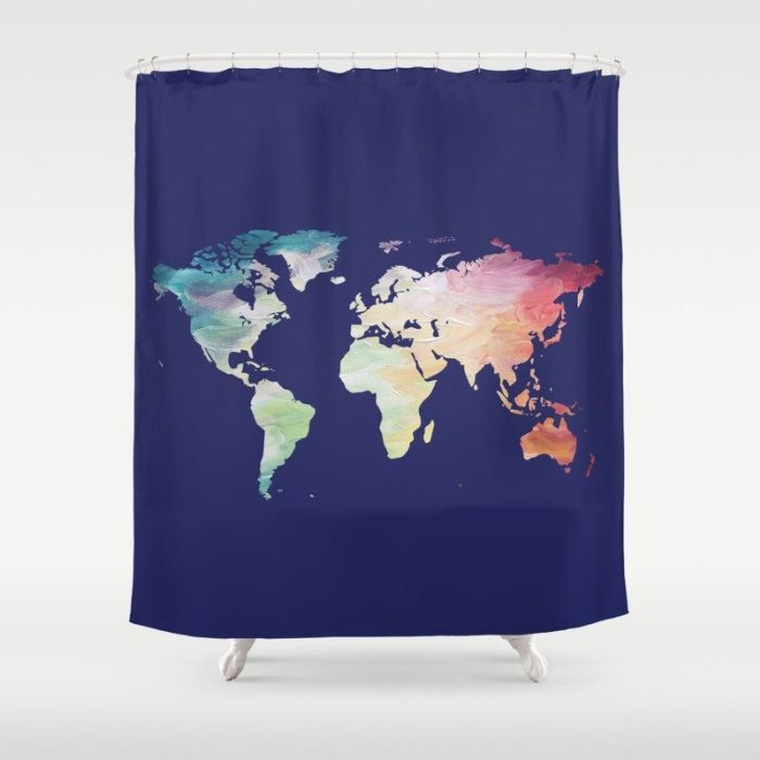 World Map Shower Curtain, Navy Shower Curtain, Map Bath Decor, Painted Map Shower Curtain, Blue Bathroom Accessories, Wanderlust Bathroom by OlaHolaHolaBaby on Etsy