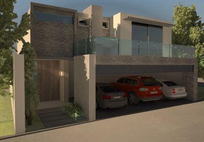 Decoración Minimalista y Contemporánea: Diseño de fachada de residencia minimalista y revestimiento de piedra