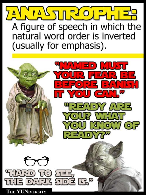 "Grammar YUNiversity ‏@The_YUNiversity    To describe the way Yoda speaks, a cool word there is.   Ready are you?   Known as ""anastrophe"" it is."