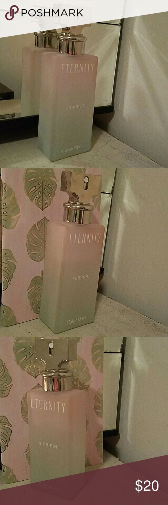 Calvin Klein Eternity Summer Perfume 3.4 Oz with 3/4 full. Limited edition from Ultra and no longer available. Smells light and floral. Nice clean spring or summer scent. Selling because I wear my chanel everyday and am trying to minimalize. Other