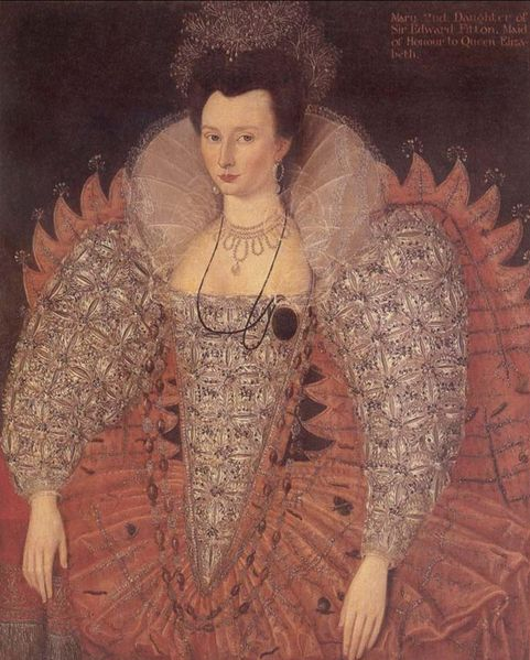 Portrait of Mary Fitton, Maid of Hounour to Elizabeth I of England. Oil on canvas, Arbury Hall, c. 1595