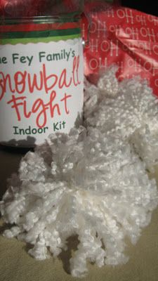 Indoor snowball fight kit (homemade). This looks easy to make and like it would be lots of fun.  Cute gift idea too.
