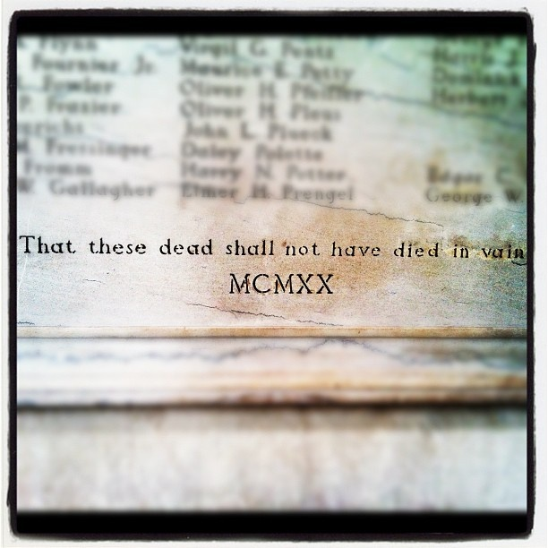 """Two large memorials (near the Thomas Jefferson statue) are dedicated to the men who died during World War 1. The relatives who erected the memorials refer to WW1 simply as """"The World War."""" They could not imagine another global conflict as destructive as the one that cost the lives of the men listed on the memorials."""