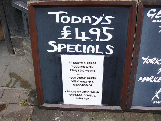 Danish food is much like British and Irish food--Today's Specials: Faggots & Pease  (faggot is a meatball)