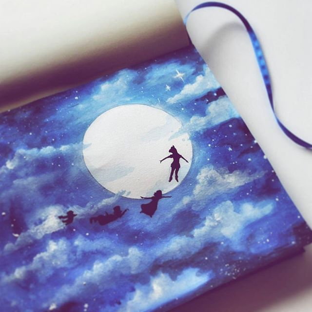 There's a Never Land waiting for you, where all your happy dreams will come true...☁💕 -  #disney #painting #peterpan