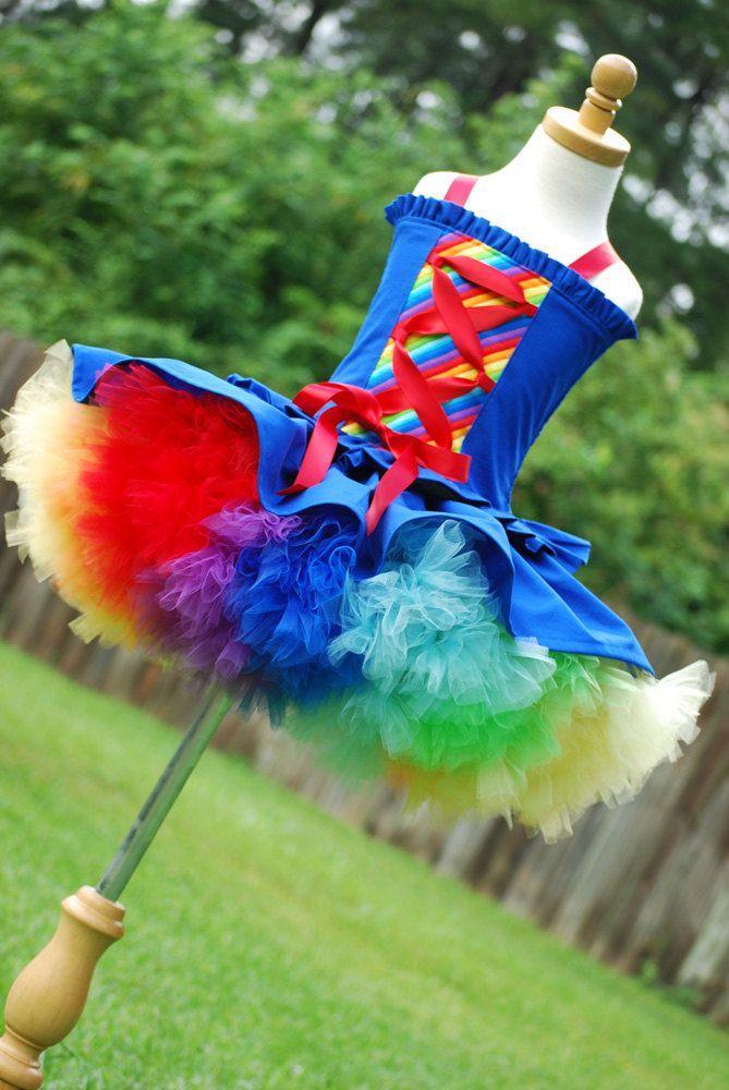 Rainbow brite the top corset and petti tutu dress pettitutu set Custom fit 12 M 18 M 2T 3T 4T 5 6 Halloween. $99.00, via Etsy.