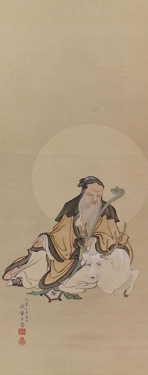Jurojin, the Lucky God. Miyochi Kenko(1839-1919) , Japanese hanging scroll, kakejiku.
