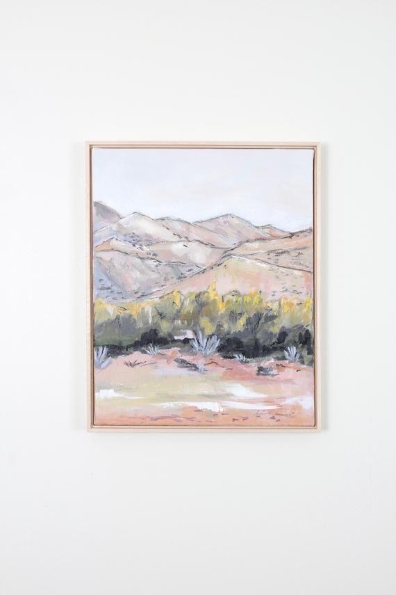 Pink Florals Original Painting Acrylic Mixed Media Joshua Tree