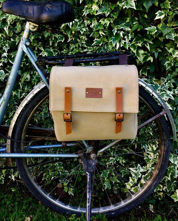 Fahrrad Koffer/Beige canvas und Leder Koffer/Fahrradkurier