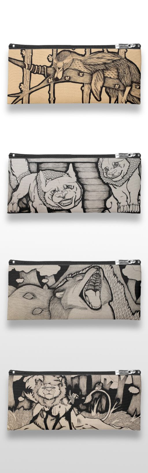Black and white illustrated animal pencil cases