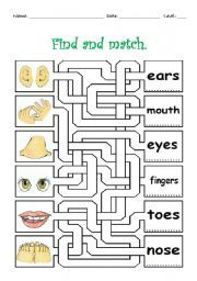 body parts kids | body parts maze this is an exercise for kids to practice body parts ...