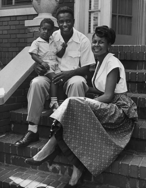 Jackie Robinson and family, 1949. Photo by Nina Leen.