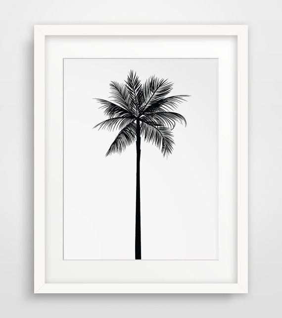 Black and white printable palm tree wall art    ===    Print out this modern wall artwork from your home computer or local print shop to style