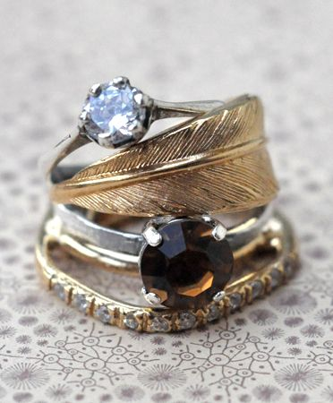 feather stacked rings- like how it's a mix match of different styles