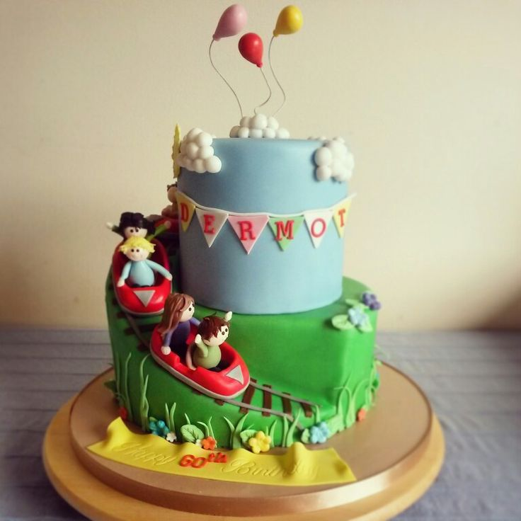 Roller coaster birthday cake with edible handmade decorations