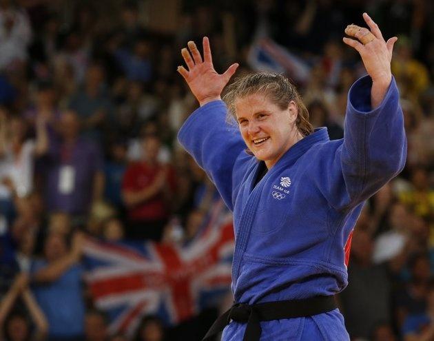 Britain's Karina Bryant celebrates after winning her women's  78kg bronze medal judo match against Ukraine's Iryna Kindzerska at the London 2012 Olympic Games August 3, 2012.