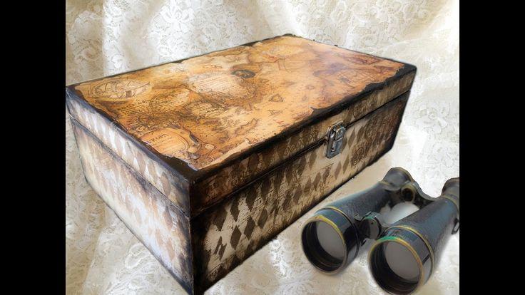 Decoupage Tutorial Travel Wine Box - Ντεκουπάζ σε Ξύλο με Χαρτί - Diy St...