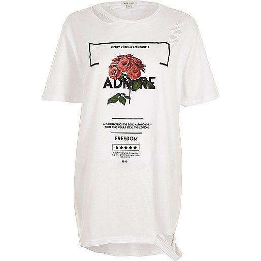 White rose print distressed boyfriend T-shirt