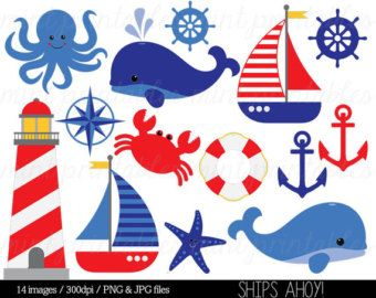 Nautical Clipart Clip Art, Anchor Clipart, Whale Clipart, Sailing Ocean Lighthouse Sailboat Sea - Commercial & Personal - BUY 2, GET 1 FREE!