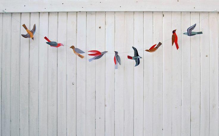Illustrated bird garland kit by kayeblegvad on Etsy