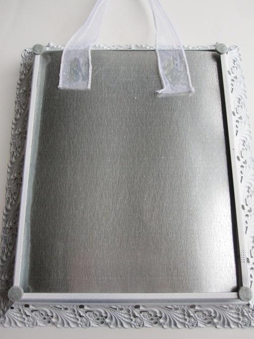 galvanized metal, tin snips, magnetic photo frame