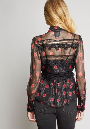 6b8f02f0d1376d Anna Sui Freely Floral Silk Blouse in Black