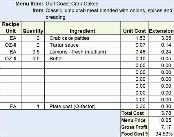 Recipe Cost Card Template Inspirational Download Menu Recipe Cost Spreadsheet Template Food Cost Spreadsheet Template Recipe Cards Template