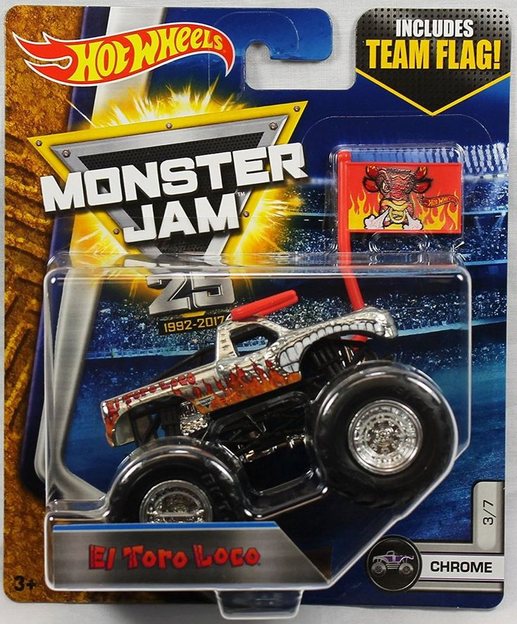 Hot Wheels Monster Jam Truck 1:64 Scale El Toro Loco Chrome 3/7