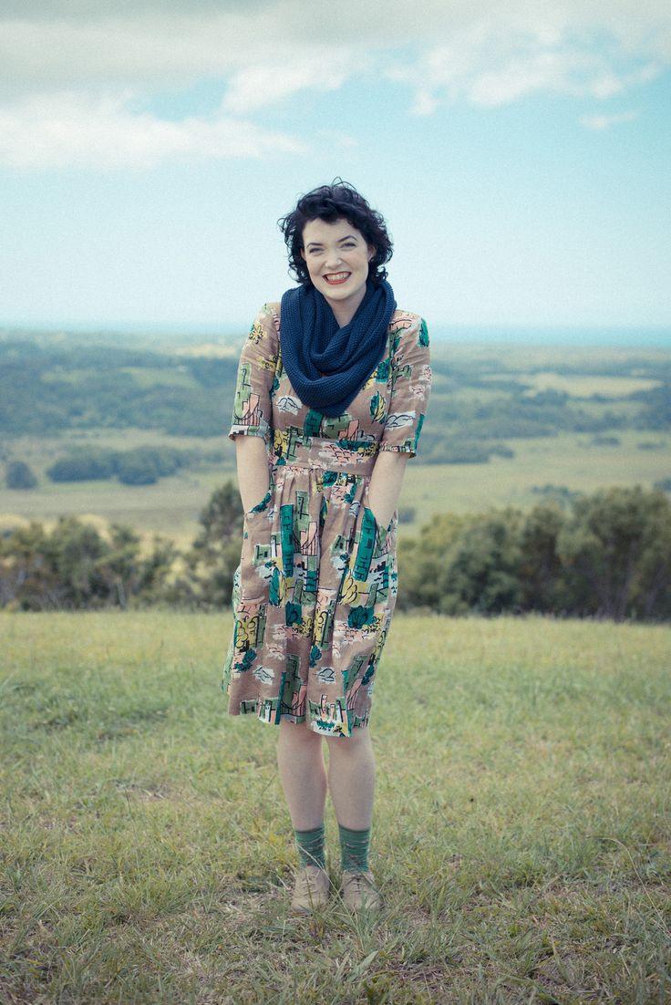 Elsie dress in Brooklyn with Infinity scarf in Ink LAZYBONES.COM.AU