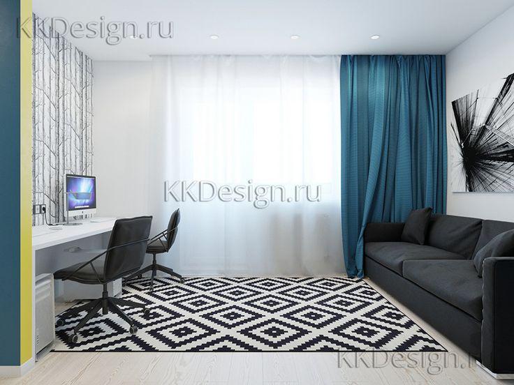 Интерьер однокомнатной квартиры с яркими цветами
