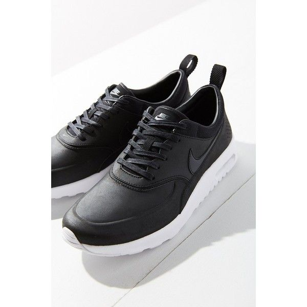 Nike Air Max Thea Premium Sneaker ($115) ❤ liked on Polyvore featuring shoes, sneakers, black, nike trainers, low profile sneakers, black sneakers, black low top sneakers and nike