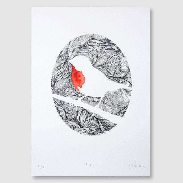 """Red Robin"" Art Print by Joe McMenamin - Art Prints NZ Art Prints, Design Prints, Posters & NZ Design Gifts | endemicworld"