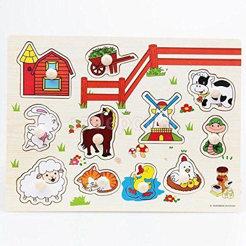 Wooden Farm Animals Shaped Jigsaw Puzzle Preschool Kids Hand Grasp Play Toy. #Wooden #Farm #Animals #Shaped #Jigsaw #Puzzle #Preschool #Kids #Hand #Grasp #Play