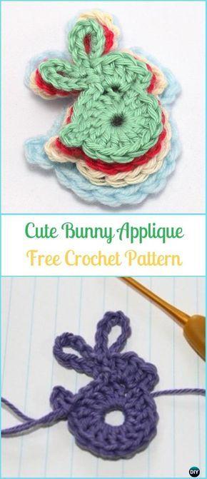 Crochet Cute Bunny Applique Free Pattern-Crochet Bunny Applique Free Patterns