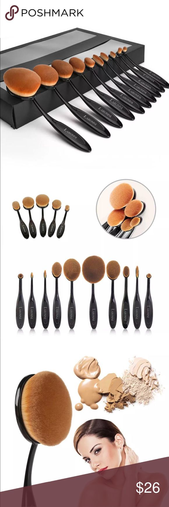 """10 pc oval makeup brush set Beautiful boxed set of oval """"toothbrush """" style makeup brushes comes with 10 pieces . (See last picture for specific styles ). These brushes have super dense , yet soft bristles , slightly Bendable handle to access the full curvature of ones face , full size at approx 5""""-6"""", many different styles for eyes , cheeks, face etc . The possibilities are endless . Makeup Brushes & Tools"""