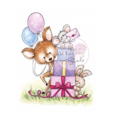 Tampon dessin wild rose studio faon lapin cadeau - Dessin cadeau anniversaire ...