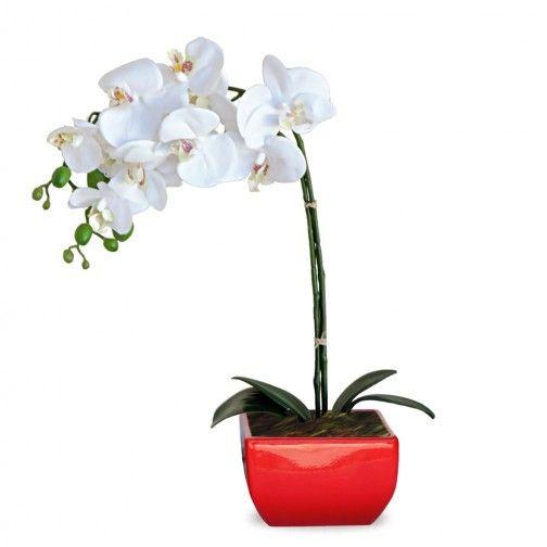 Arranjo de Flores Artificiais de Orquideas com Cachepot Vermelho 45x20 cm