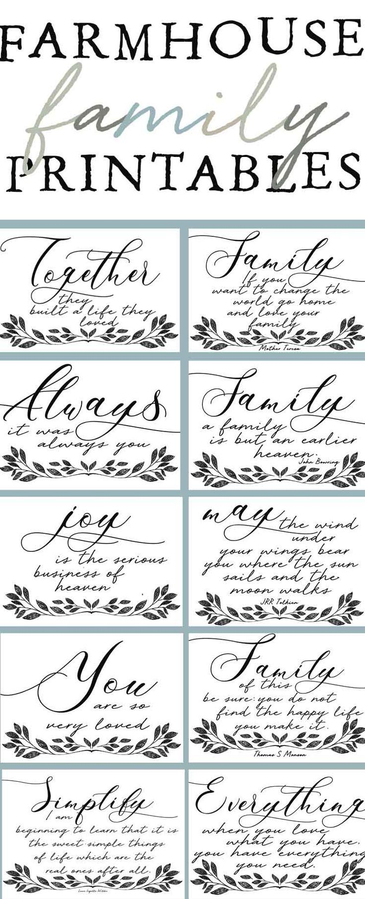Farmhouse Family Printable S Family Quotes Home Quotes